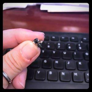 Black diamond, white gold, stud earrings.